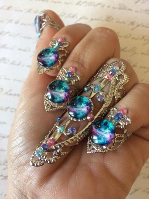 TheDreamsFactory's Galaxy Nail Ring Set ($77.38)