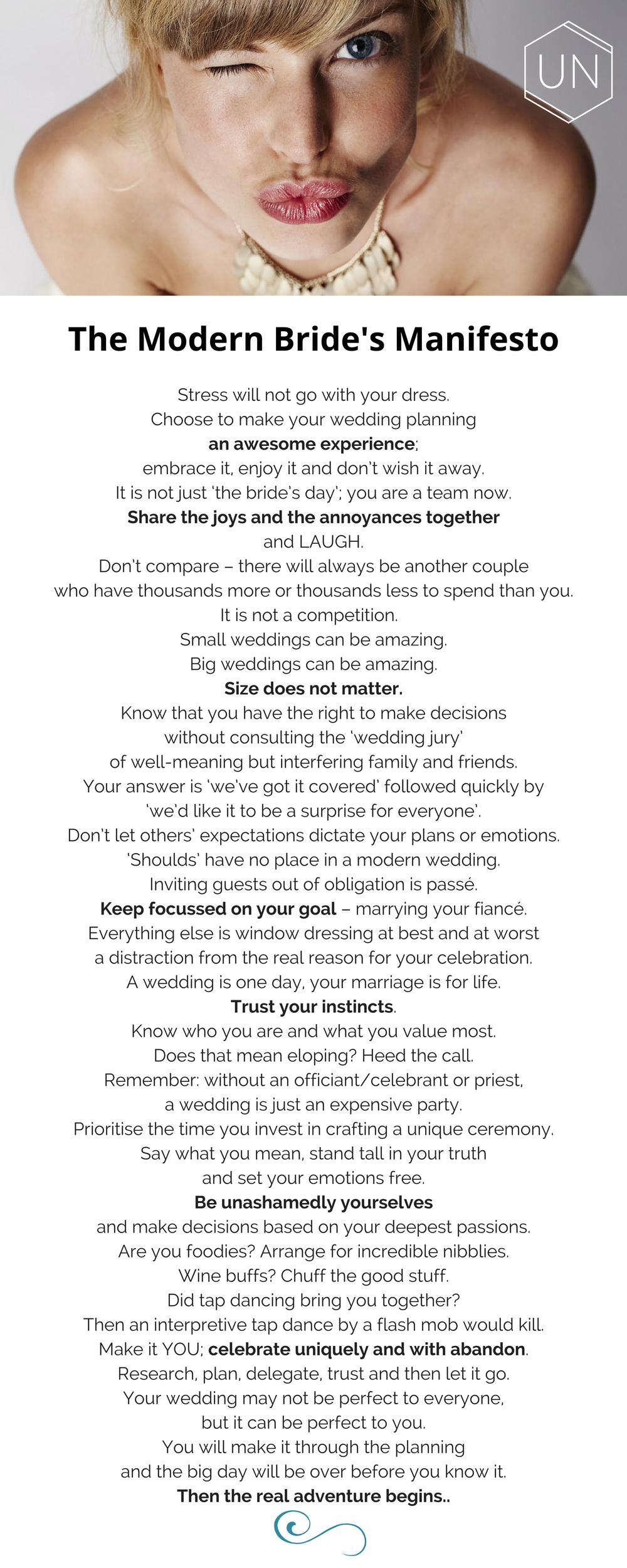 The Modern Bride's Manifesto - Unbridely
