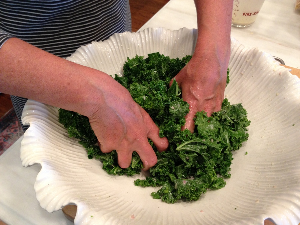 Massaging the kale.