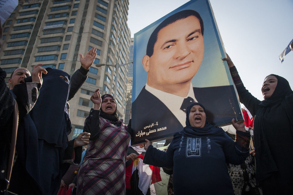 A Pro Mubarak rally in the affluent neighborhood of Zamalek, in Cairo. Egypt. The demonstration was attended by thousands of supporters on February 2nd 2011.