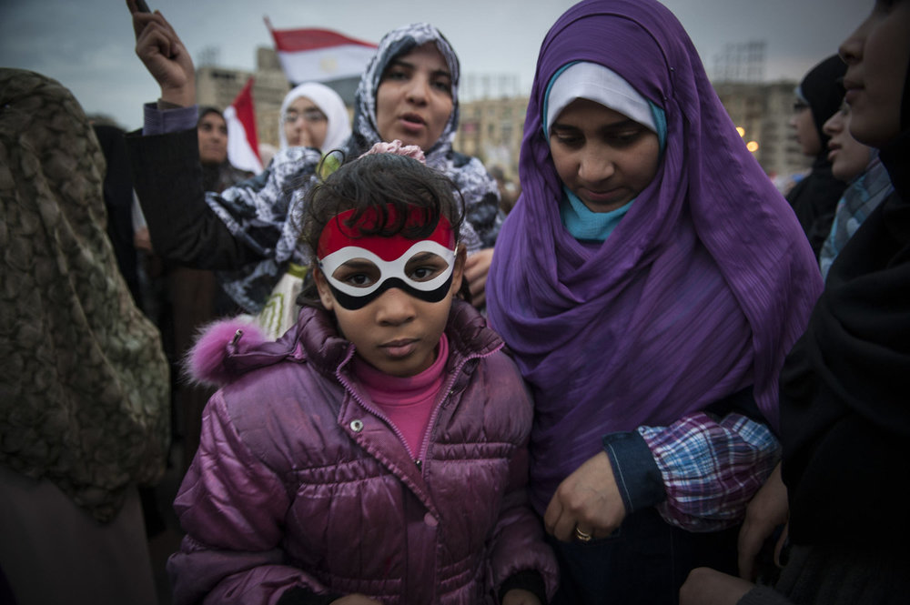 A mother and daughter during a female protest in Tahrir Square, Cairo on February 6,2011.