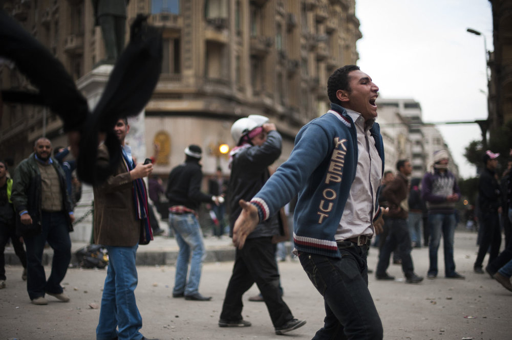 Protestors prematurely rejoice after an inaccurate claim that Mubarak has fled the country.