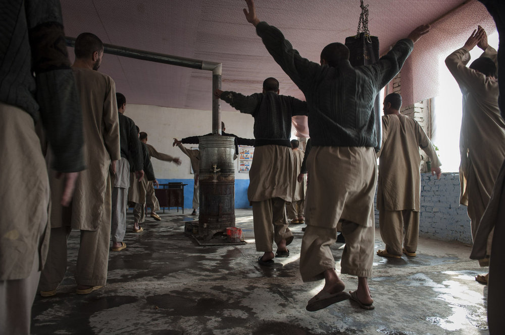 Patients are instructed by Mohammed Dawood in aerobics. A strict daily routine is emphasized at the Jangaland Drug Rehab Center in Kabul Afghanistan where it is believed that the regimen of religion and exercise will help the patient recover and maintain a drug free life.