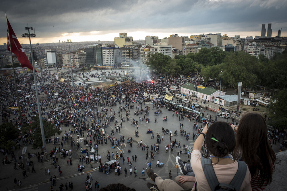 An aerial view of Taksim Square from the Ataturk Cultural Center on June 2, 2013. Protests began as a fight to save Gezi Park in central Istanbul. After the small peaceful protest was overrun by the police force- violently using tear gas and pepper spray, thousands came out in support as well as to protest the AKP Government and its leader Tayyip Erdogan who has been in power for 10 years and has made no secret that he wants to continue.