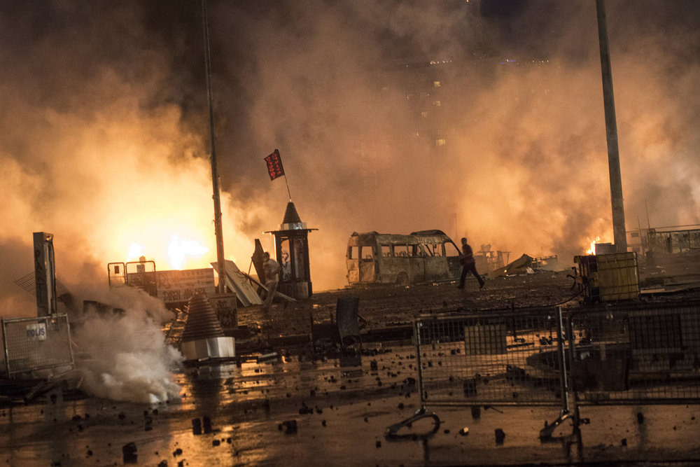 As the police attempt to clear Taksim square, violence breaks out on June 11th, 2013. After hours of tear gassing and TOMA tanks (armored vehicles that spray a mix of water and tear gas) the protestors managed to momentarily re-take the square till the evening when the police overtook them .