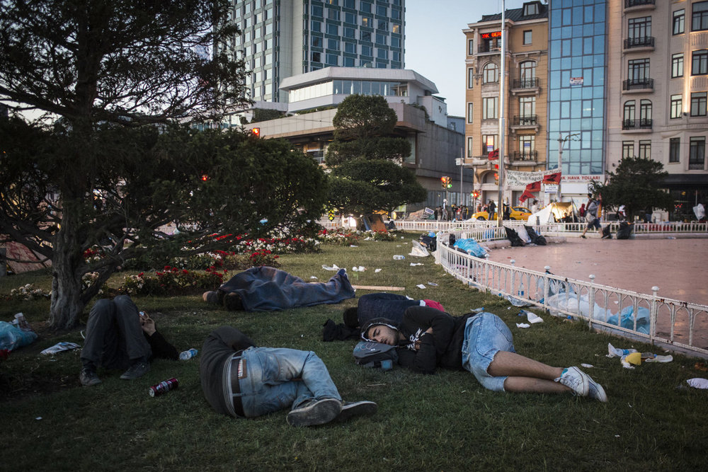 Demonstrators sleeping in Taksim Square on the morning of June 3, 2013, Istanbul Turkey.