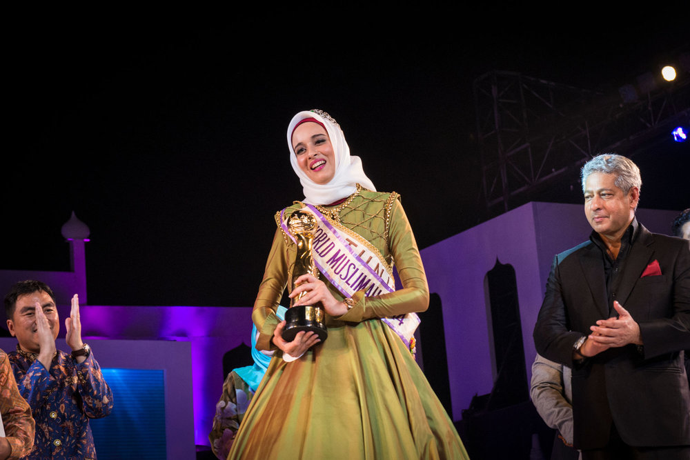 Fatma Ben Guefrache of Tunisia is crowned Muss Muslimah 2014. The Grand Finale of the Miss Muslimah World Competition on November 21st, 2014 in Yogakarta, Indonesia.