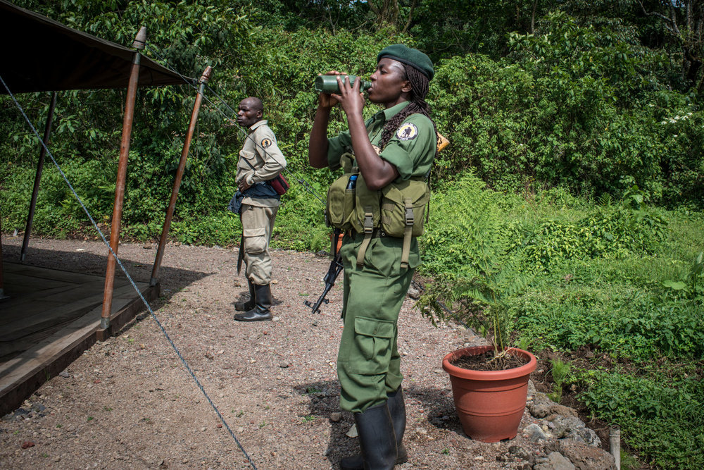 The rangers reach Bukima camp after a four hour hike. For the first time, women have taken up the most dangerous job in wildlife, becoming para-military rangers at the Virunga National Park in DR Congo.