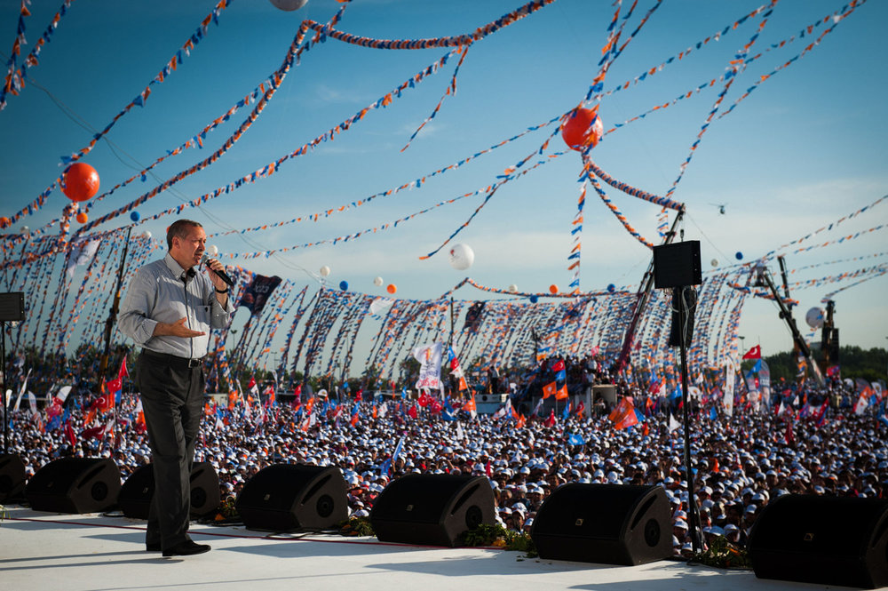 Prime Minister Erdoğan on stage. Supporters of the Justice and Development Party(AK Parti) in Istanbul Turkey.