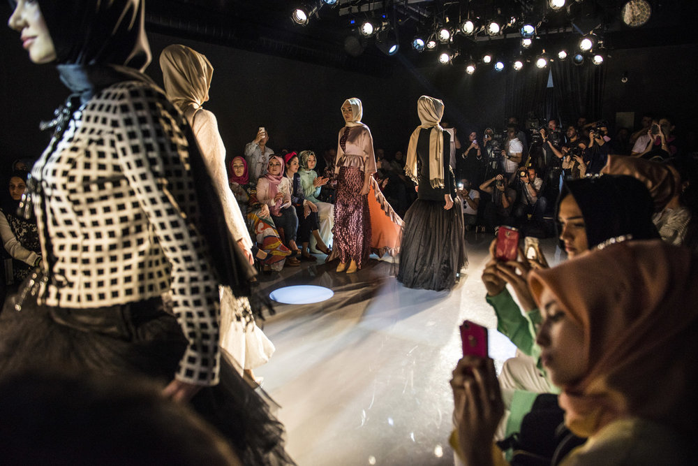Modanisa, an online store of modest wear hosts its first fashion show in 2014 in Istanbul, Turkey.
