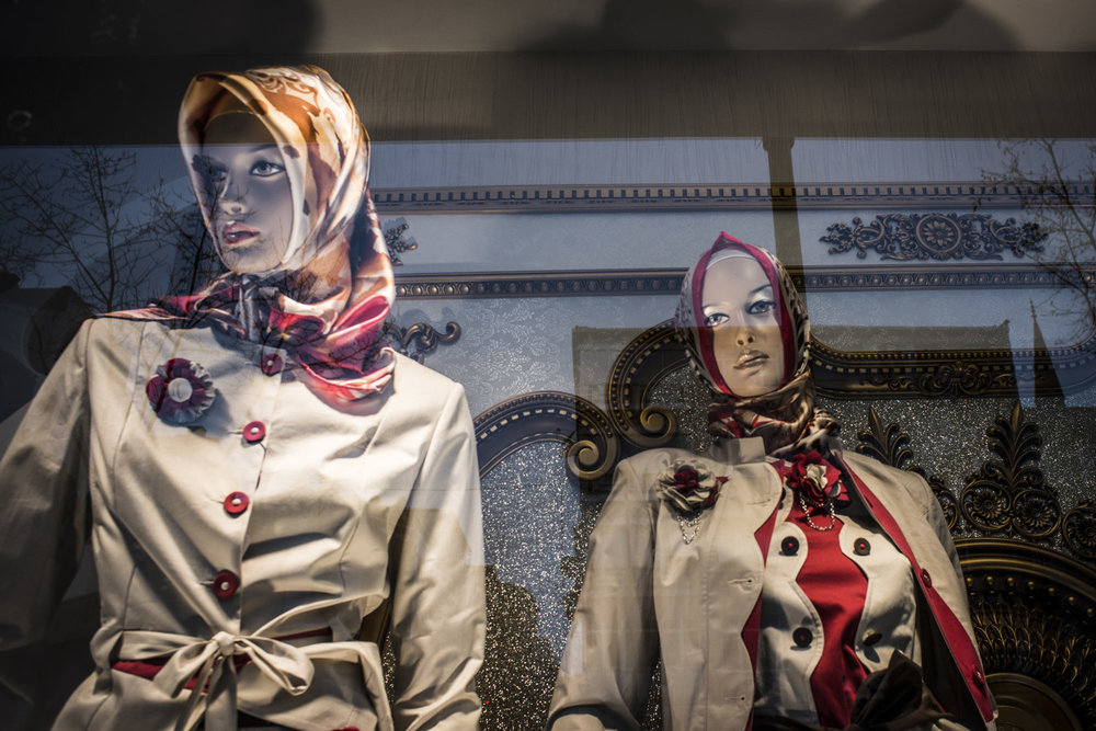 Mannequins places in store windows in the Fatih district of Istanbul, Turkey. Fatih is known as one of the most conservative districts in the city.
