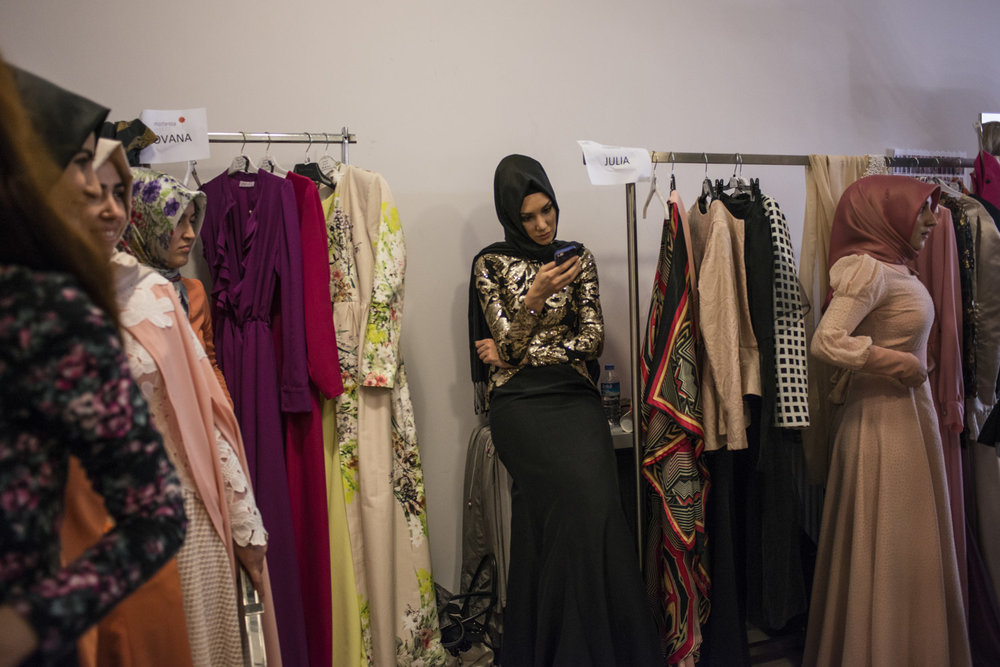 Backstage at the Modanisa fashion show on May 28th, 2014 in Istanbul, Turkey.