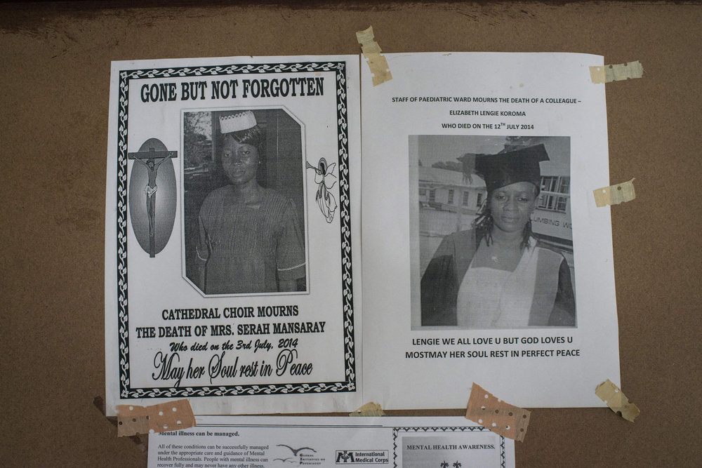 Posters memorializing health workers after ebola struck the town in  in Kenema Government Hospital in Kenema, Sierra Leone on November 10th, 2015.