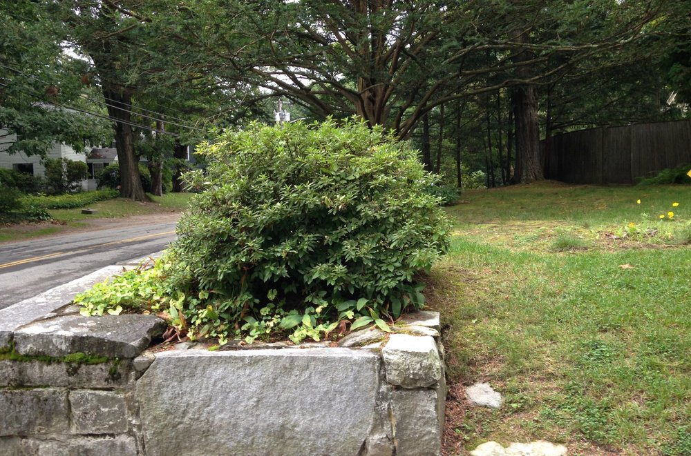 Wall and planting bed, Concord, MA