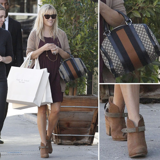 CelebStyle found Reese Witherspoon in a chic afternoon outfit featuring Westward Leaning Sunglasses.