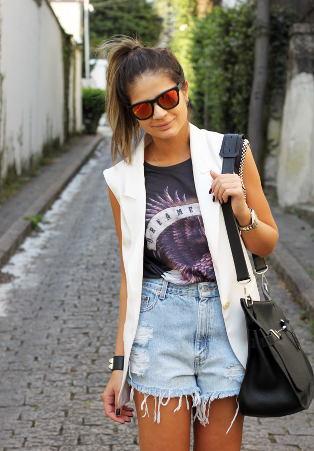 More love from Brazil: Thassia rocks Westward \ \ Leaning Color Revolutions in orange with denim shorts and Valentino shoes.