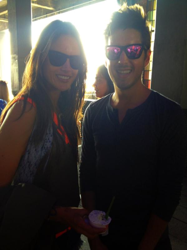 Nathan with Alessandra Ambrosio, both wearing Westward \ \ Leaning shades in New York City this weekend.