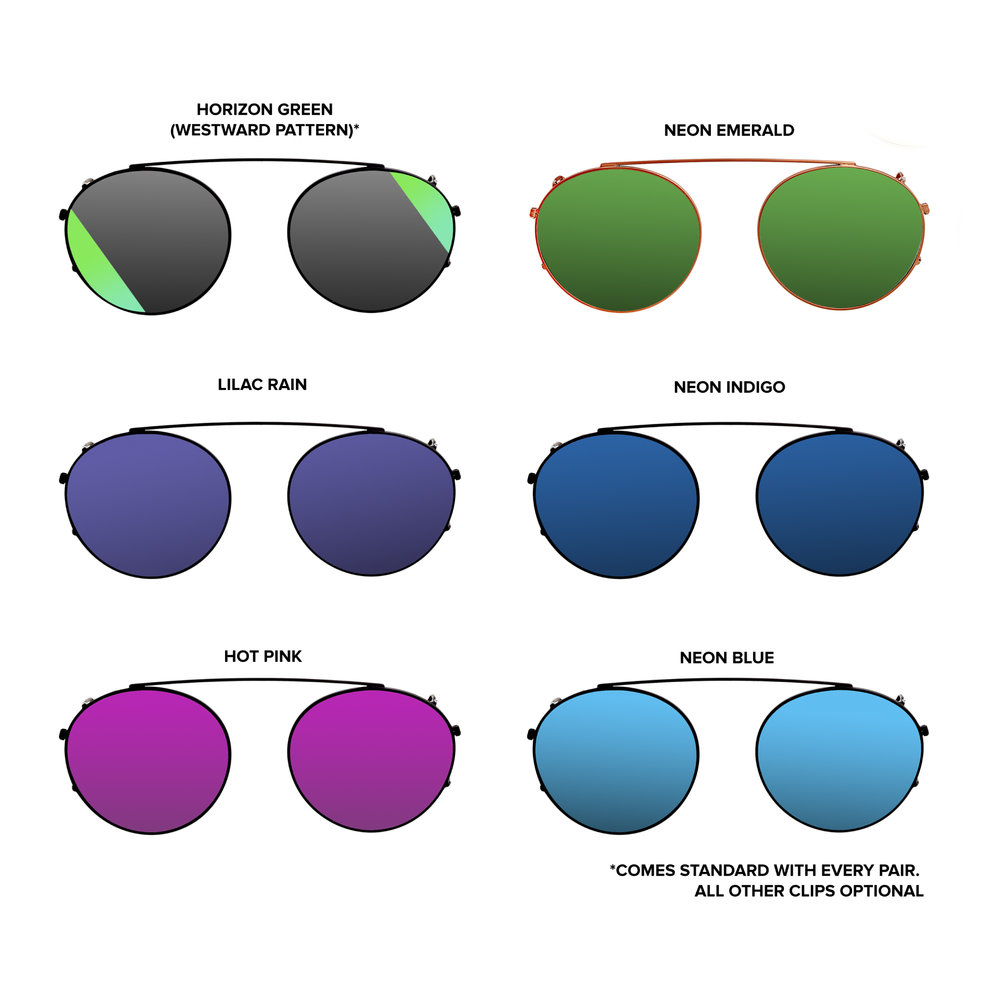 Dyad S-Class Clip Options No matter which pair you purchase, all Dyad S.1 models come with navy matte tinted lenses installed in the base frame standard, as well as the Horizon Green clip. The remaining 5 color choices-- Neon Emerald, Lilac Rain, Neon Indigo, Hot PInk and Neon Blue-- are yours to make.   Dyad S.1 (w/ navy matte tinted lenses, plus the Horizon Green clip) will retail for $225. All supplementary clips are $50.
