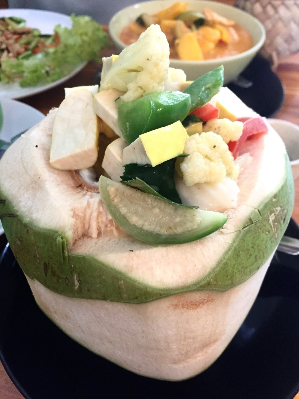 Coconuts on coconuts and in this case a delicious coconut curry inception! NOM NOM NOM.