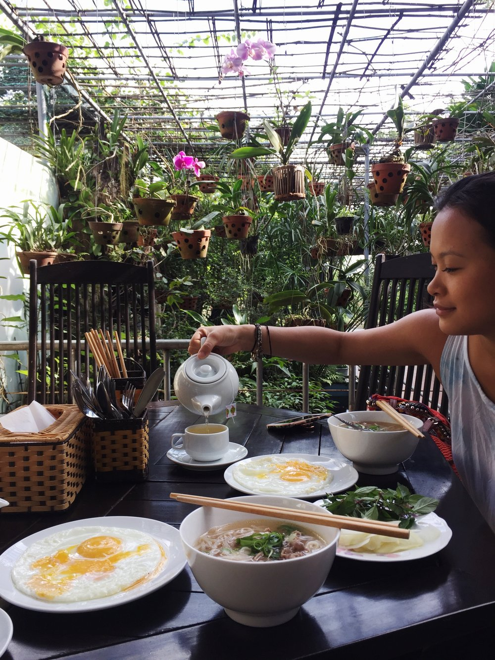 Breakfast pho,  Leaf Homestay , Hoi An, Vietnam
