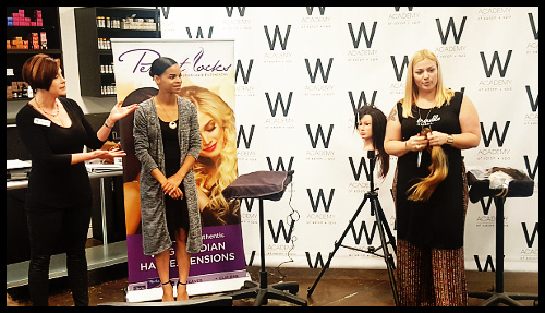 Retail & Wholesale Manager Iman Jones, Educator Marisa Fullerton and W Academy of Salon + Spa Director Janet Paradiso provided a unique and educational lecture on Perfect Locks hair extensions.