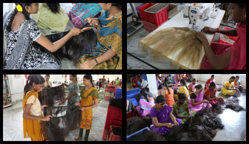 Various images capturing the magic behind the hair extension manufacturing process.
