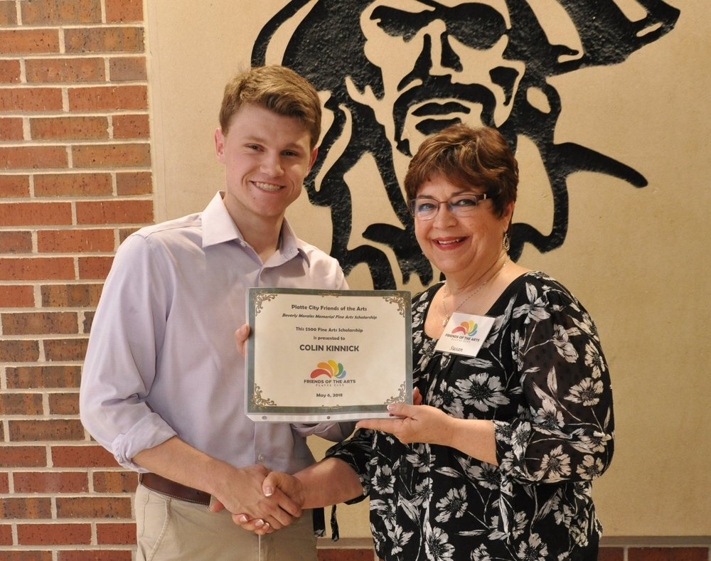 Colin Kinnick - 2018 Theatre Arts Scholarship Recipient with Chairperson Susan Anderson. Colin went on to The University of Connecticut to study Theatre Arts.