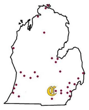 locations of Michigan's vintage base ball clubs