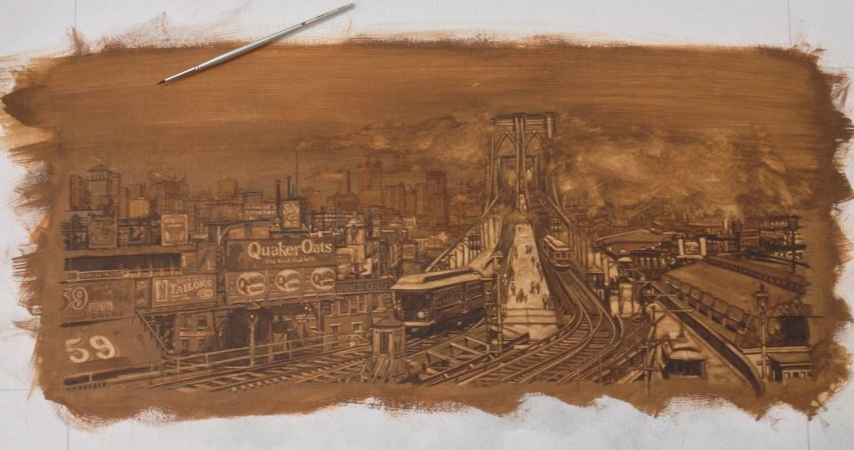 Underpainting for Brooklyn Bridge Morning