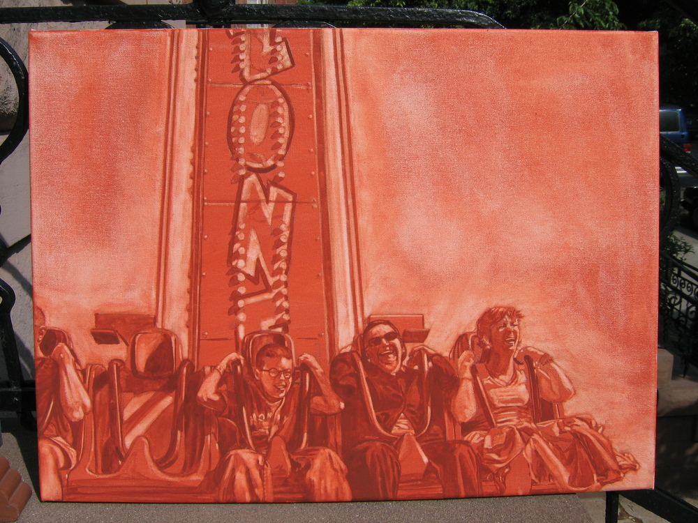 Underpainting for Mother's Day at the Amusement Park