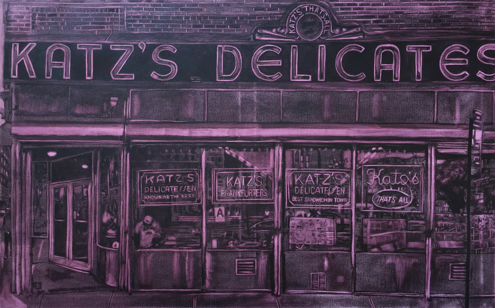 Katz's Deli Windows Underpainting