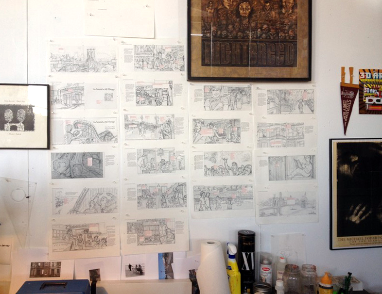 My studio wall filled with the story boards for The Sound of All Things. American Can Factory, Park Sloper, Brooklyn