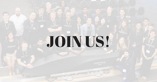 New term means new recruits! Waterloop is looking for new members to help us prepare for Competition III next summer! If you have a passion for innovation and want to join this all Canadian student team, please check out our Facebook and LinkedIn page for the link to the application. If you have any other questions or concerns, please feel free to reach out - join@teamwaterloop.ca