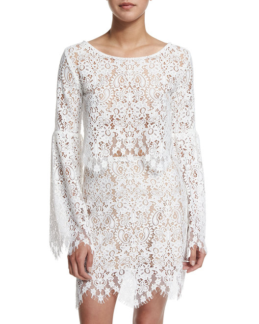 For Love & Lemons Vika long sleeve lace top