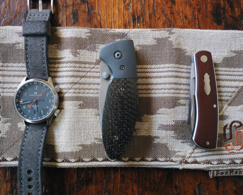 Pictured: FoxHanx Handkerchief, Oak & Oscar Sandford on Drunkart Canvas Strap, Krein Knives Alpha, Oeser Knives Native