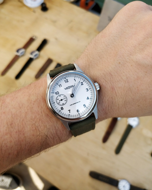 My personal favorite of everything on the table, the Standard Issue Field Watch with white dial