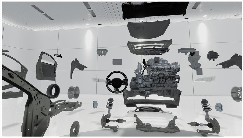 VR Oculus Rift screen shot - 'Exploded View of the Chrysler 200'