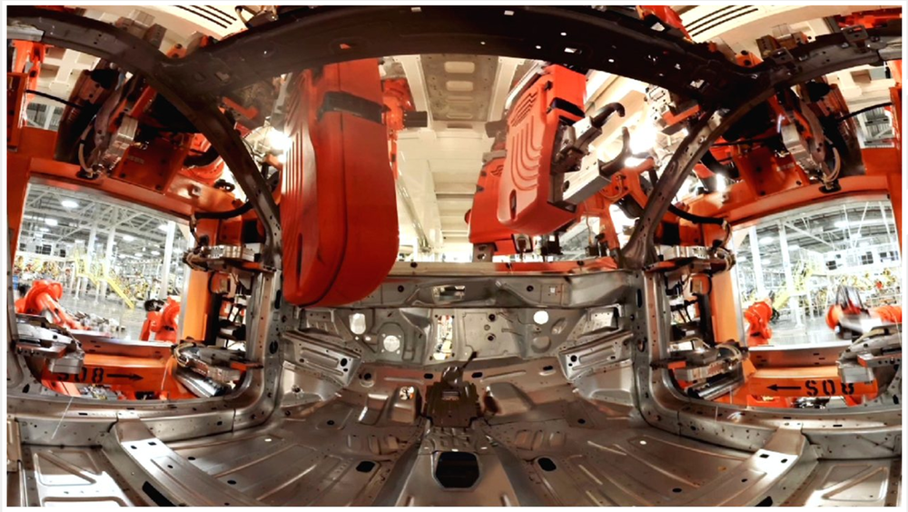 VR Oculus Rift screen shot - '360 °  video still from the Chrysler factory'