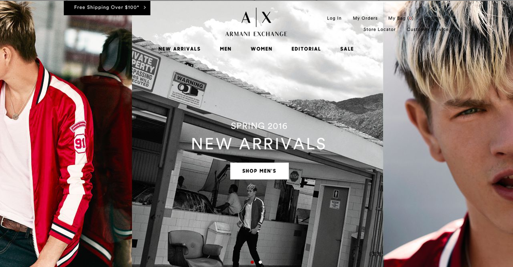 A/X Armani Exchange  e-Commerce web design and build