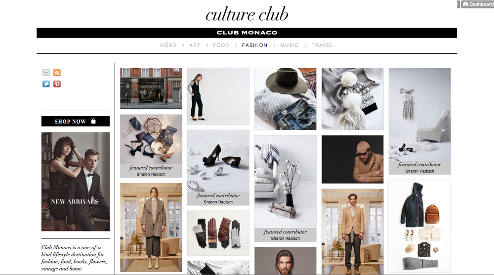 'Culture Club' Tumblr - design & layout