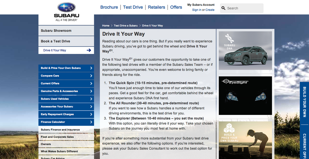Subaru editorial content