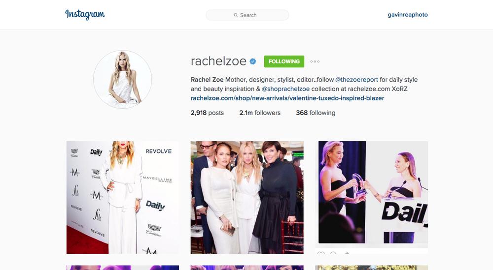 Social Media - Instagram @rachelzoe