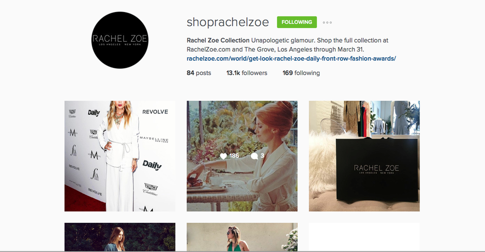 Social Media - Instagram @shoprachelzoe