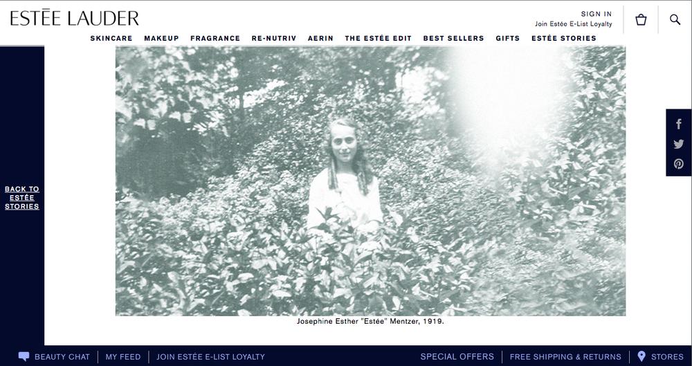 Estée Lauder  'Born for Beauty' - Website content