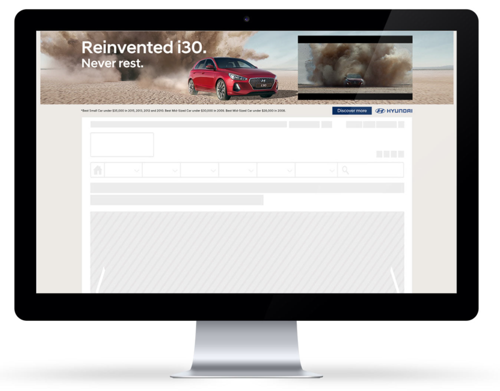 Hyundai i30 digital skins - design for a digital placement using InSkin AdTech