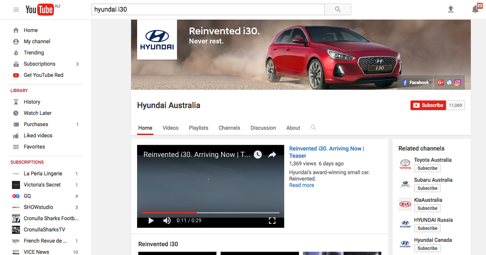 Hero image asset used as part of the campaign launch on the Hyundai Australia YouTube chanel.