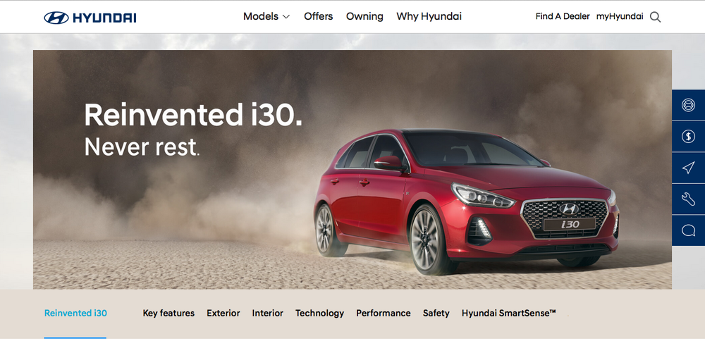 Landing page image asset of the i30 on the Hyundai Australia website.