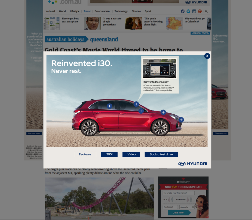 Homepage takeover with rich media sidekick activation including hotspots
