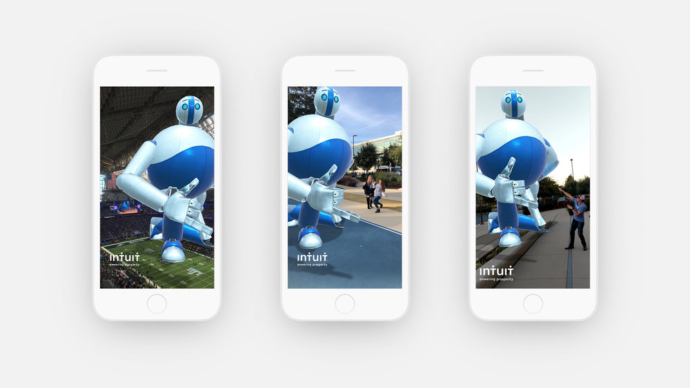 Snapchat social campaign  A partnership with Snapchat allowed us to create Augmented Reality Giants across the country, from the Super Bowl in Minneapolis to the Intuit campus in Silicon Valley.