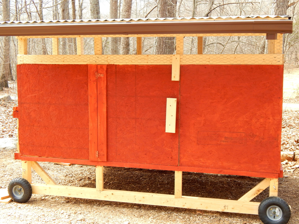 The front of the coop... it has wheels so it can be easily moved
